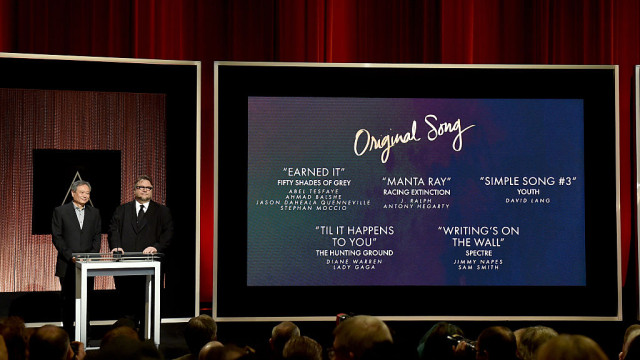 Ang Lee and Guillermo del Toro announce the nominees for Best Music - Original Song (88th Oscars) - January 14, 2016 in Los Angeles